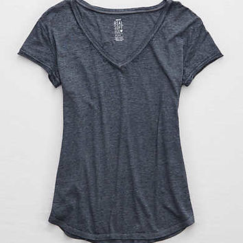 Aerie Real Soft® V-Neck Tee, Navy