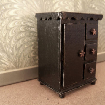 Dollhouse Miniature Distressed Country End or Side Table Black