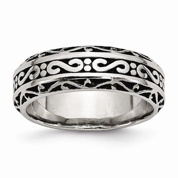Men's Stainless Steel Antiqued Wedding Band Ring