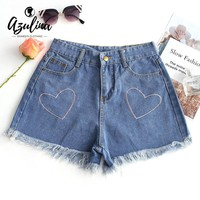 AZULINA Heart Embroidery Frayed Hem Denim Shorts New Fashion Casual Shorts Women Girl Pocket Jeans Shorts 2018 Summer Hot Shorts