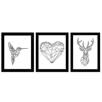 Nordic! Pecker Reindeer Love Unframed Fashionable Simple Style Inkjet Oil Canvas Painting Ink Painting Poster Wall Art 3 Types