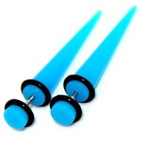 Fake Cheaters Illusion Tapers Expanders Stretchers Plugs Turquoise, 16G 1.2mm, Look 2G 6mm, 1 Pair