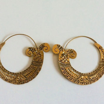 SALE!!!Tribal Brass Earrings, Gypsy Earrings, Boho Earrings, Bohemian Earrings, Ethnic Earrings, Hoops, Hippie Jewelry
