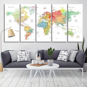97888 - Large Wall Art World Map Canvas Print- Custom World Map Push Pin Wall Art- Custom World Map Canvas Poster Print- Personalized Wall Art