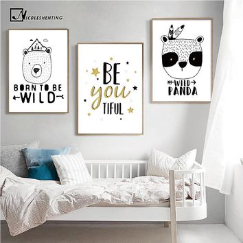 Motivational Quotes Posters Prints Bear Panda Poster Black White Canvas Art Painting Nursery Wall Picture Baby Bedroom Dcoration