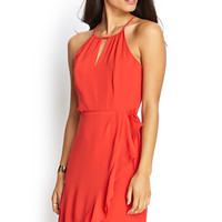 LOVE 21 Faux-Wrap Halter Dress Tomato