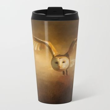 Night Raptor - Barn Owl Metal Travel Mug by Theresa Campbell D'August Art