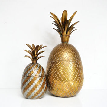 "Extra Large 15 1/4"" Brass Pineapple Ice Bucket"