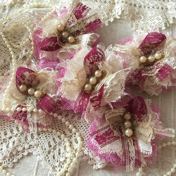 7 shabby chic lace rose pink, beige and burgundy color handmade flowers