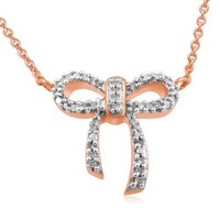 18k Rose Gold Plated Sterling Silver Diamond Bow Pendant Necklace (1/10 Cttw, I-J Color, I2-I3 Clar