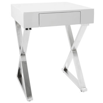 Luster Contemporary Side Table in White and Chrome