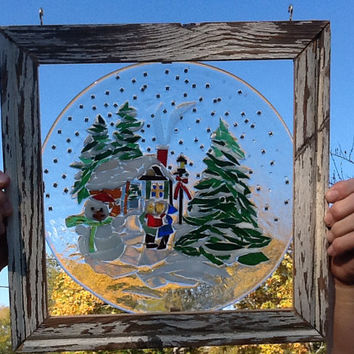 Stained Glass Christmas Scene Window Art Sun Catcher, Country cabin, Carrolers, Country Christmas, christmas Decor, Unique gift idea