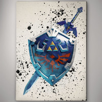 Skyward Sword Shield Legend of Zelda Game Watercolor Poster Gift Art  No165