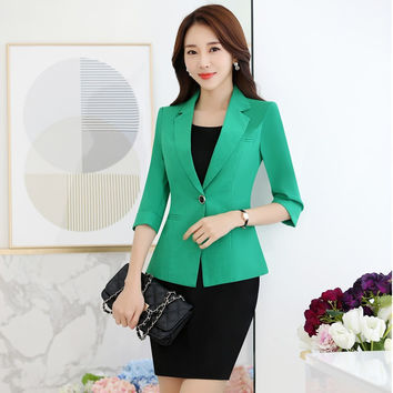 New Novelty Green Formal Professional Business Work Suits With Jackets And Dress Office Ladies Work Wear Blazers Outfits S-3XL