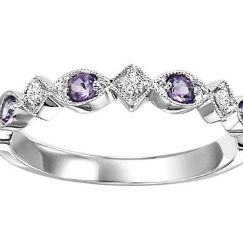 10k white gold diamond and created alexandrite birthstone ring