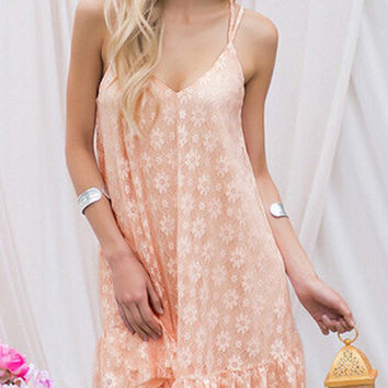 Peach Shift Dress With Lace Overlay Open Back Design
