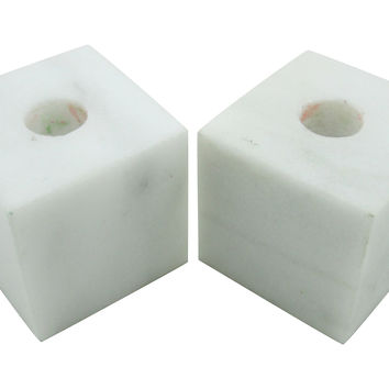 Marble Cube Candleholders, Pair