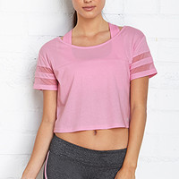 FOREVER 21 Athletic Boxy Tee Baby Pink Large