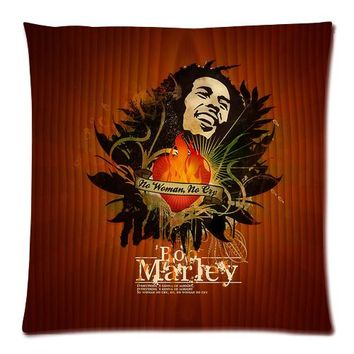 Custom The Reggae Singer Bob Marley Zippered 18x18 (One Side) Square Cushion Cover with Comfortable Flannel P1024