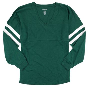 Lightweight Long Sleeve Baseball Jersey. Comfy V-Neck Top. Up to 2x. Hunter Green