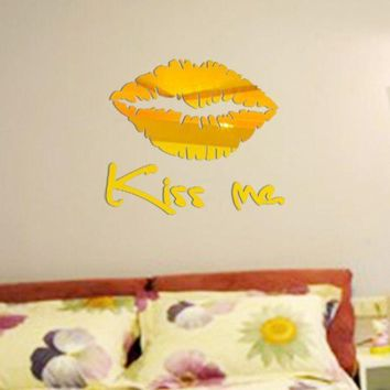 ac NOOW2 Removable Kiss Me Mirror Wall Sticker Decal Art Mural Home Room Decor Silver