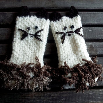 Handmade, Crocheted Gloves, Handmade, Knit Gloves, Mittens, Mittens Cat, Ivory White, Winter Gloves, Hand Warmer, Women's Gloves, Gift Ideas