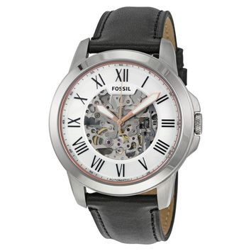 Fossil Grant Silver Skeleton Dial Automatic Mens Watch ME3101
