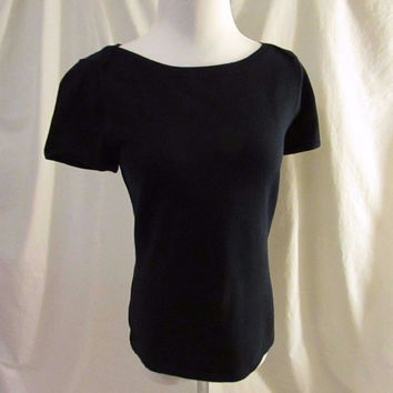 Talbots Petite Sweater Top Women's Small Navy Boatneck Short Sleeves
