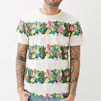 Tropical Floral-Striped Tee
