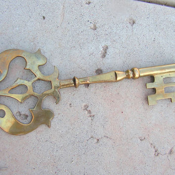 Large Brass Skeleton Key Steampunk