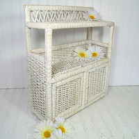Vintage Winter White Wicker and Wood Shelf - 3 Shelves & 2 Doors Cabinet Wall Hanging Organizer - Shabby Chippy Paint Cottage Style Storage
