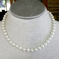 "White Glass Pearl Single Strand Necklace Princes Hand Tied Knotted 17.5"" 8mm"