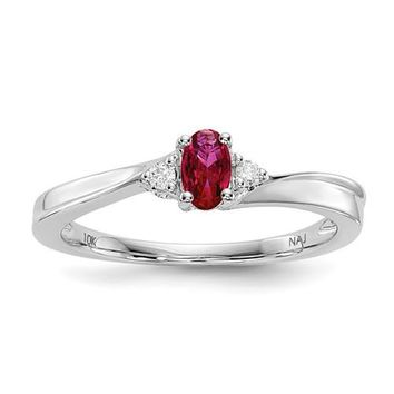 Sterling Silver Ruby & Diamond July Birthstone Ring