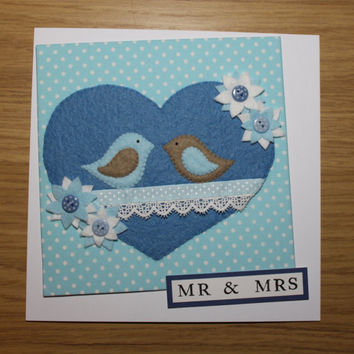 "Large 8""x 8"" Heart & Birds Cards"