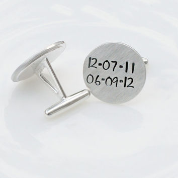 Sterling Silver Cufflinks - Hand Stamped Cufflinks - Custom Cufflinks - Personalized Cufflinks