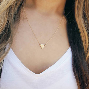 dainty triangle necklace, tiny gold triangle necklace, geometric triangle necklace, minimalist necklace