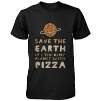 Save the Earth Only Planet with Pizza Funny Men's Shirt Earth Day Graphic Tee