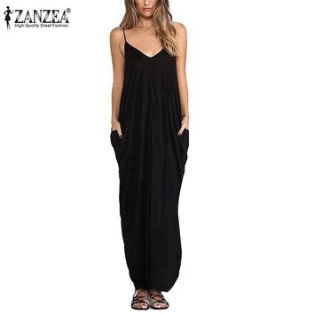 Zanzea 2017 Summer Women Boho Sexy V Neck Sleeveless Beach Dresses Ladies Casual Loose Long Maxi Solid White Dress Vestidos
