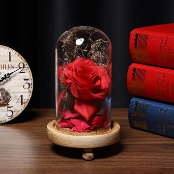 Birthday Gift Beauty and the Beast Red Rose with Fallen Petals in a Glass Dome on a Wooden Base for Christmas Valentine's Gifts