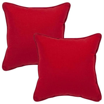 2 Red Outdoor Furniture Throw Pillows - Mildew, Weather And Fade Resistant