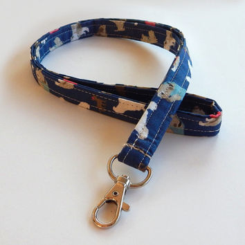 Dog Lanyard / Puppy Keychain / Cute Lanyards / Bulldogs / Key Lanyard / ID Badge Holder / Fabric Lanyard / Dogs / Breeds / Basset Hounds