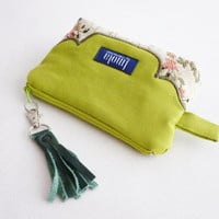 Cosmetic bag pouch pencil pouch beauty bag pencil case makeup bag zipper pouch lime green beige brocade leather tassel