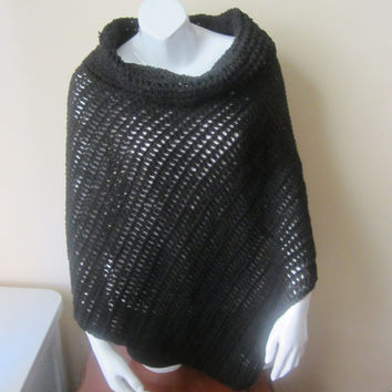 PONCHO, CROCHET PONCHO, womens poncho, Black cotton, cowl neck