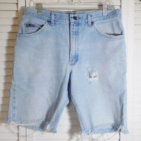 Mens Worn In Jean Shorts Frayed Ripped Hole Lee Brand Denim 34 Inch Waist Long Shorts High Waist Boyfriend Jeans