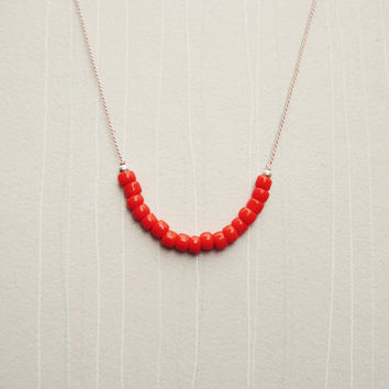 Petite Orange Red Glass Bead & Sterling Silver Necklace