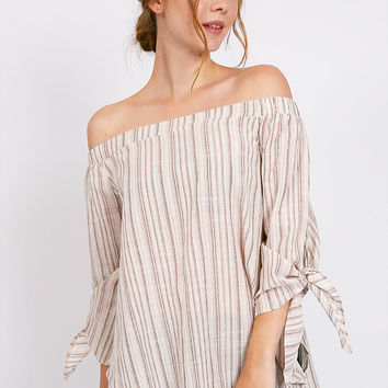 Coming Back Striped Off Shoulder Top