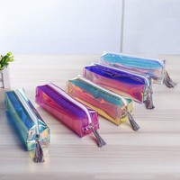 1pc Transparent Holographic Pencil Makeup Case Laser Travel Make Up Cosmetic Bag PU Leather 5 Colors Mayitr
