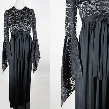 Vintage 70s Dress / 1970s Witchy Black Bell Sleeve Burnout Maxi Dress XS