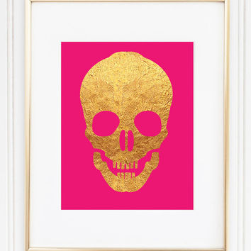 Gold Foil Skull - Hot Pink - Home Decor - Office Decor - Trendy Skull - Skull Art - Skull Decor - Skull Print