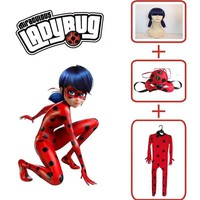 Miraculous Ladybug Cosplay,Kids Girls Fashion Lady bug Costumes Fancy Dress Tight Jumpsuit Mask Bag Clothing Halloween Costume